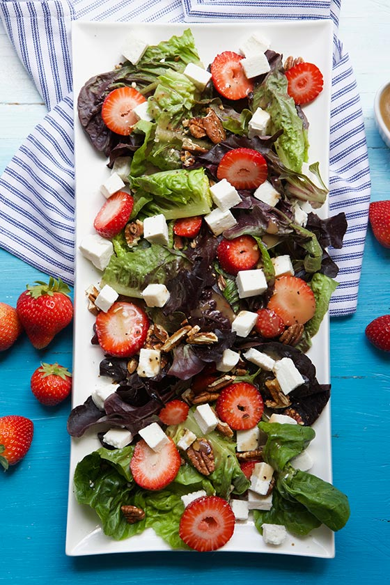Strawberry Feta Salad with Balsamic Dressing is healthy, light and delish! Get the recipe on MarlaMeridith.com
