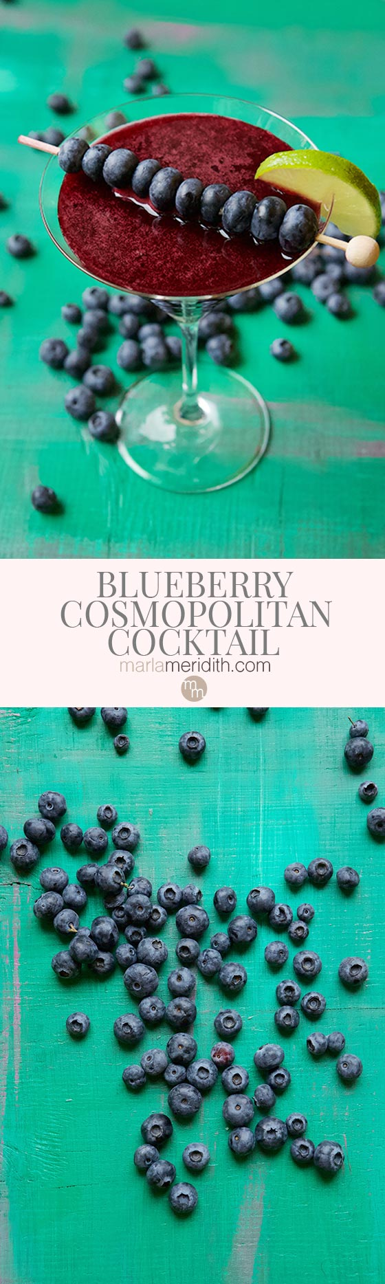 This Blueberry Cosmopolitan Cocktail recipe is a simply delicious creation with fresh blueberries, lime juice, vodka and St. Germain. MarlaMeridith.com