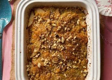 We love this fruit filled apple Pear Betty recipe, an irresistible rustic dessert that's great for holiday entertaining. Comes together quickly! MarlaMeridith.com