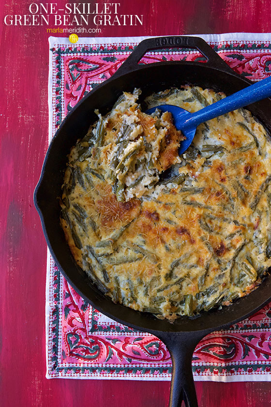 We love this One-Skillet Green Bean Gratin recipe, a delicious holiday side dish! Simple to prepare and only one pot to clean up makes this dish dreamy! MarlaMeridith.com
