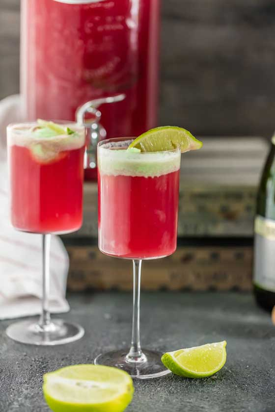 Cranberry Limeade Holiday Champagne Punch recipe by The Cookie Rookie