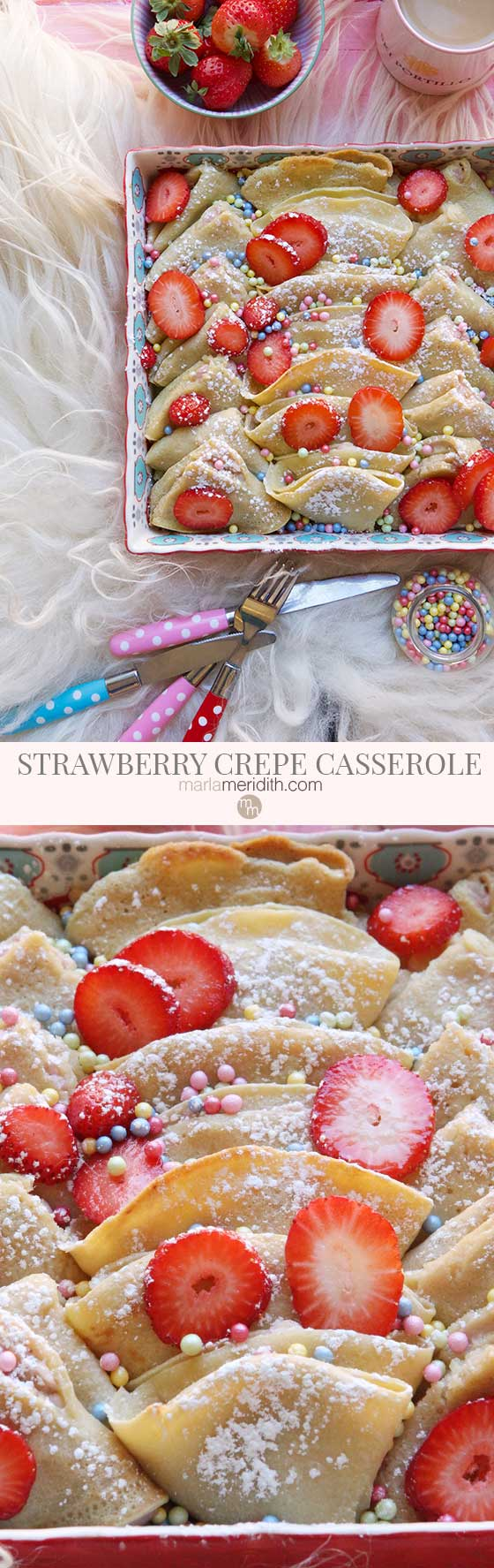 This is quite possibly the BEST breakfast/brunch recipe ever! Show off your cooking skills with this easy Strawberry Cream Cheese Crepe Casserole recipe. MarlaMeridith.com