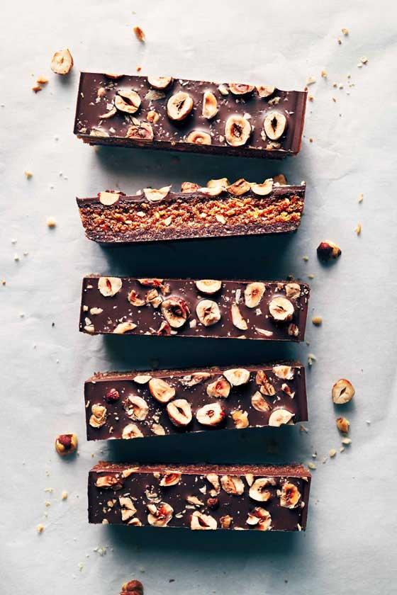 Chocolate Hazelnut Praline Bars recipe by Evergreen Kitchen