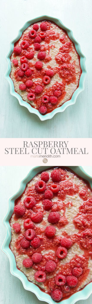 We love this quick, easy and very healthy Vegan Raspberry Steel Cut Oatmeal recipe. Great for those busy weekday mornings and you can make it the night before! MarlaMeridith.com