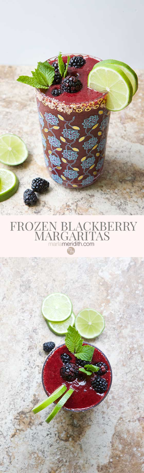 We love these delicious Frozen Blackberry Margaritas on hot summer days. A great happy hour recipe that comes together in minutes! MarlaMeridith.com