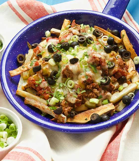 Chili Cheese Baked Fries: this recipe is lightened up and absolutely delicious! MarlaMeridith.com