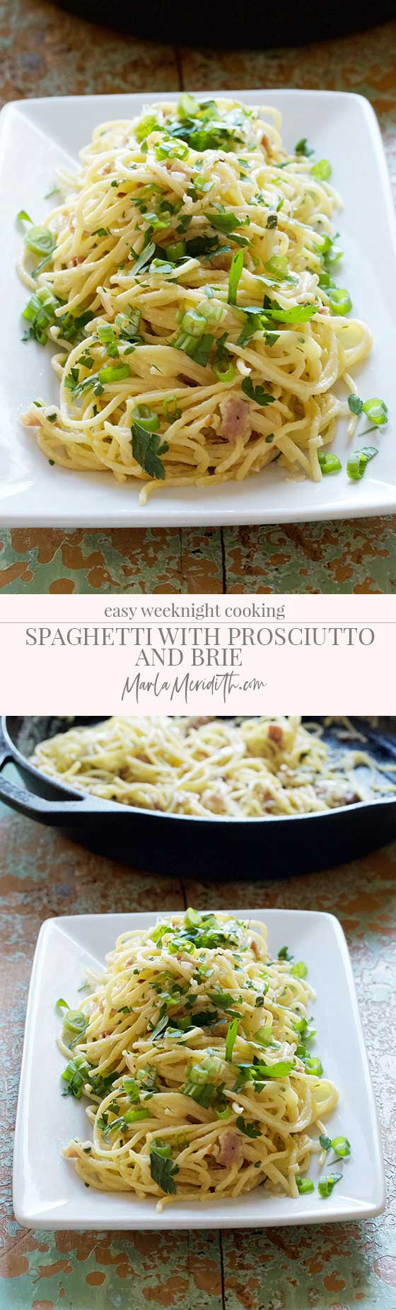 Spaghetti with Prosciutto and Brie recipe, a delicious comfort food dish that is simple and quick to prepare. Perfect for cold winter weeknight meals. MarlaMeridith.com