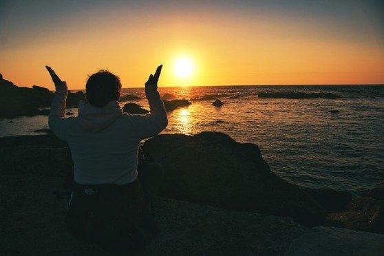 Girl Meditation Sunset Sea Coast