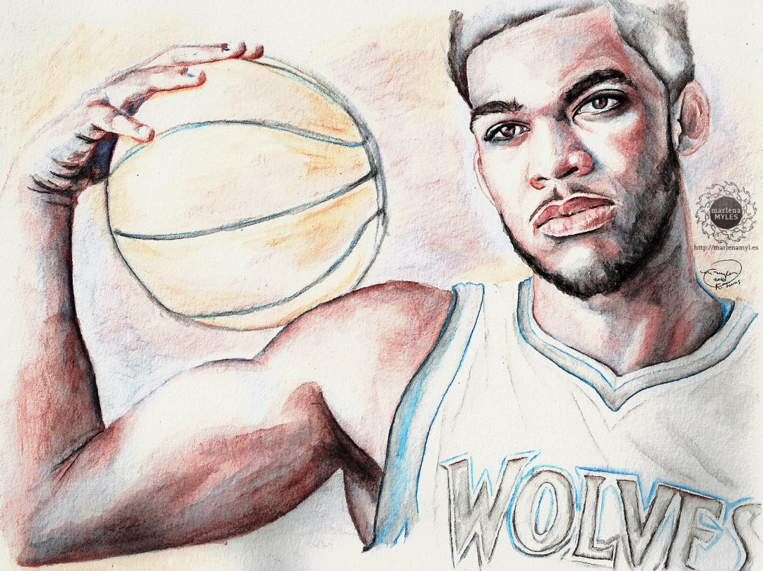 Watercolor painting of Karl-Anthony Towns