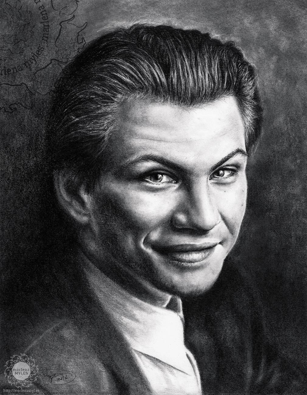 Portrait drawing of Christian Slater