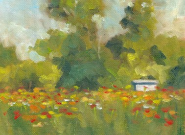 White Shed, Zinnia Patch 2013, 8 x 6 in., oil on canvas panel, SOLD