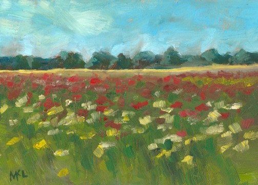 Nothing but Zinnias 2013, Zinnia Patch, 8 x 6 in., oil on canvas panel