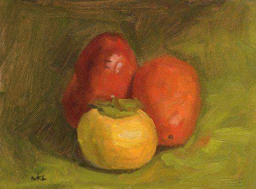 102714 Three Pomegranates 8x6 oil