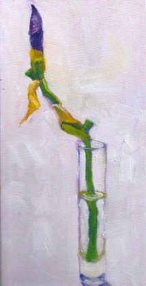 About to Bud, oil on stretched canvas, 12 x 6 inches by Marlene Lee