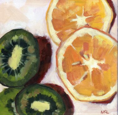 Orange and Kiwi, oil on stretched canvas, 8 x 8 x 3/4 inches