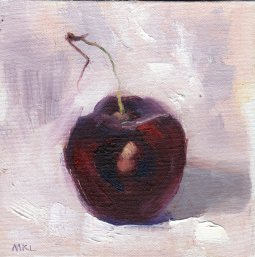 Single Cherry, oil on canvas panel, 6 x 6 inches by Marlene Lee