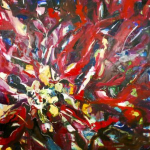 "magenta & the light - 60"" x 60"" - $5000- oil on canvas by Marlene Lowden (framed)"