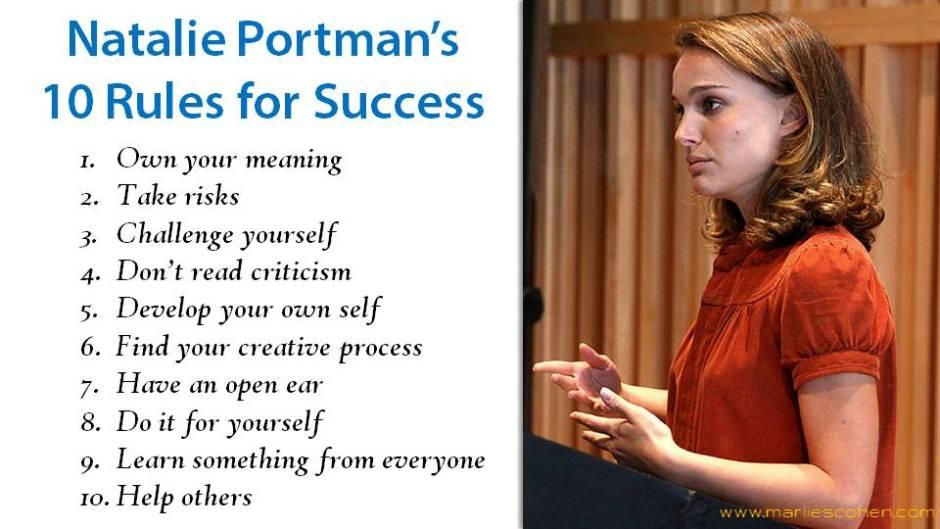 Natalie Portman's 10 rules for success