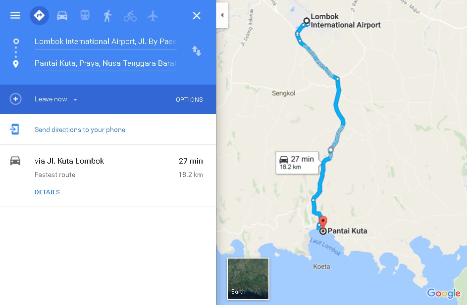 jarak-bandara-lombok-ke-pantai-kuta-lombok