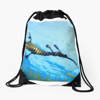 Drawsting beach bag weedy seadragon print
