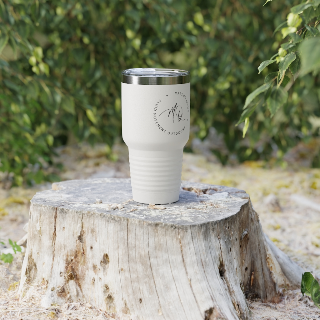 White Custom Travel Mug Fluid Movement Outdoors Marlon Quinn
