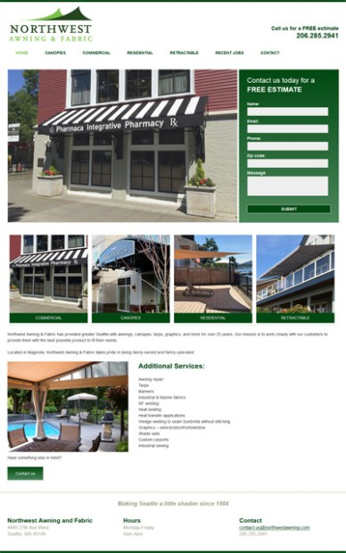Awning company website screenshot