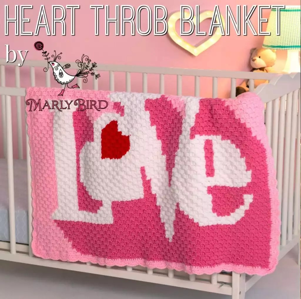 FREE Corner to corner crochet blanket-Heart Throb Blanket