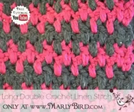 Long Double Crochet Linen Stitch Pattern Tutorial and FREE Pattern at www.MarlyBird.com