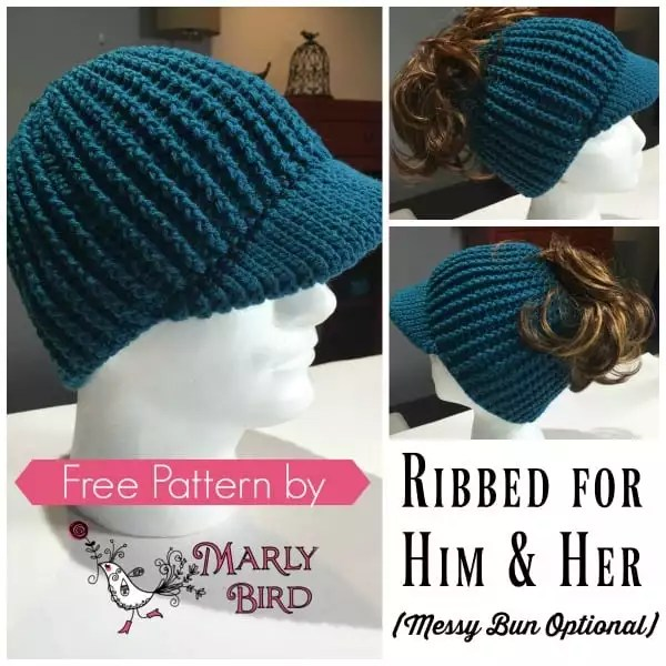 Free Messy Bun Crochet Hat with Brim by Marly Bird