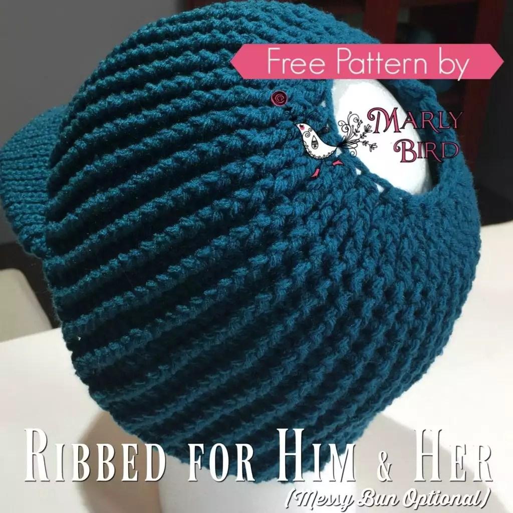 Knit Beanie With Brim Pattern