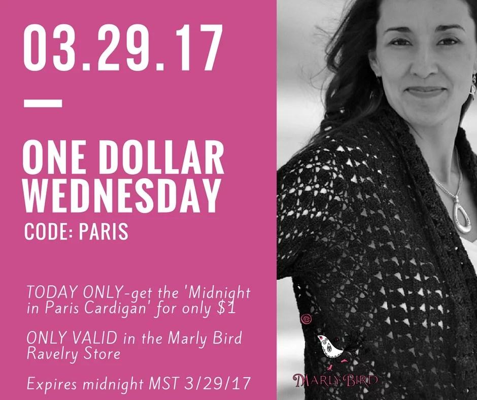 Midnight in Paris Cardigan-$1 Wednesday pattern by Marly Bird