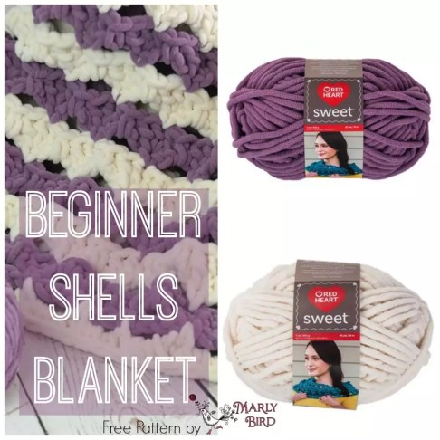Crochet Beginner Shells Blanket by Marly Bird: Sweet Yarn by Red Heart Yarns