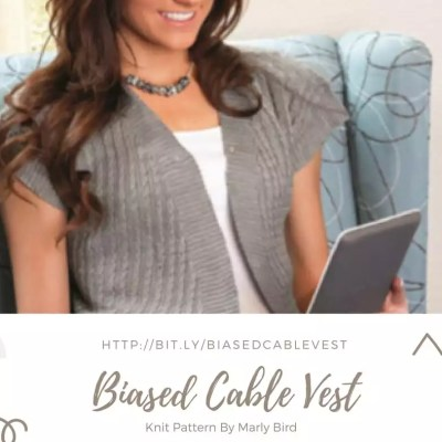 Biased Cable Vest Knit Pattern by Marly Bird
