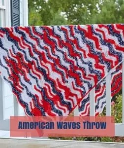 American Waves Throw Free Patriotic Crochet Pattern from Red Heart
