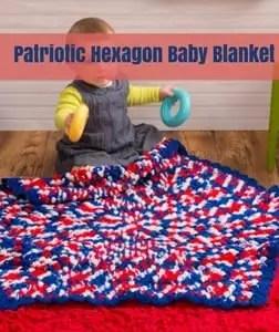 Patriotic Hexagon Baby Blanket Free Patriotic Crochet Pattern from Red Heart