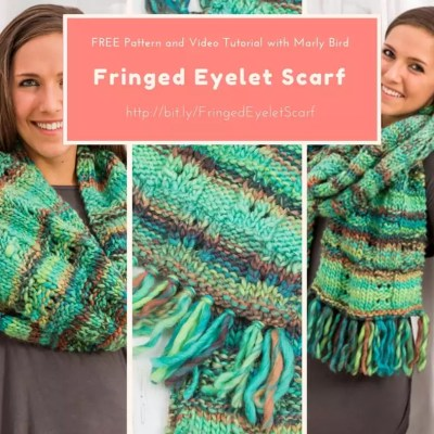Knit the Fringed Eyelet Scarf with Marly Bird