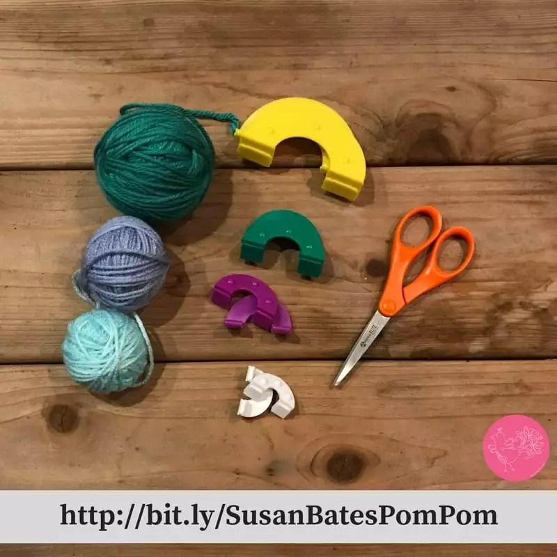 Making pom poms with the Susan Bates Pom Pom Maker