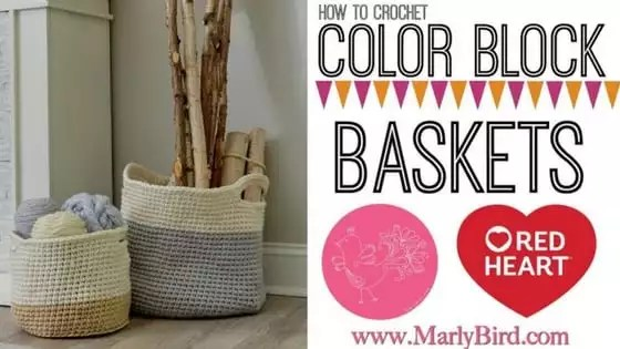 Video Tutorial How to Crochet Color Block Baskets