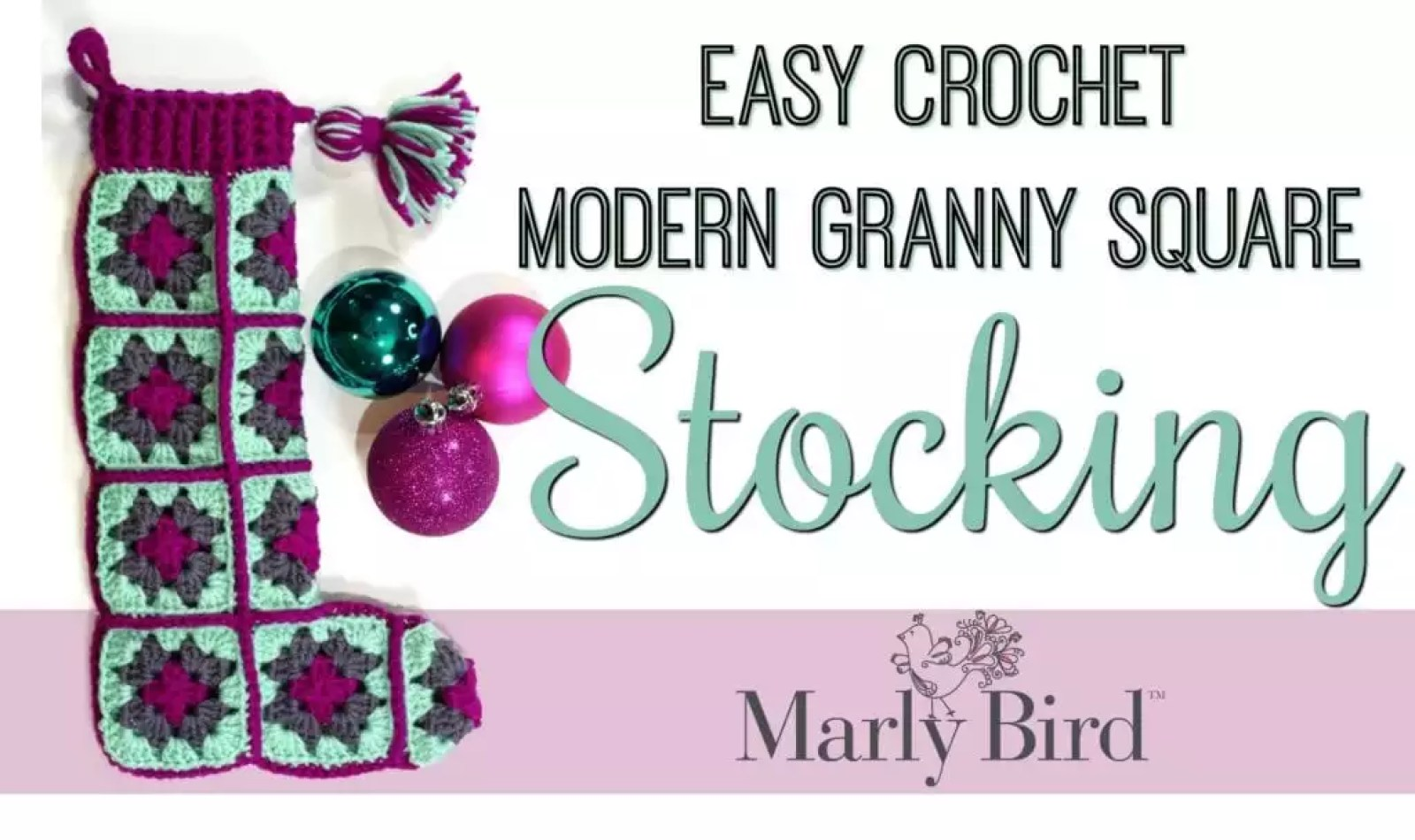 FREE Crochet Pattern Easy Crochet Modern Granny Square Stocking