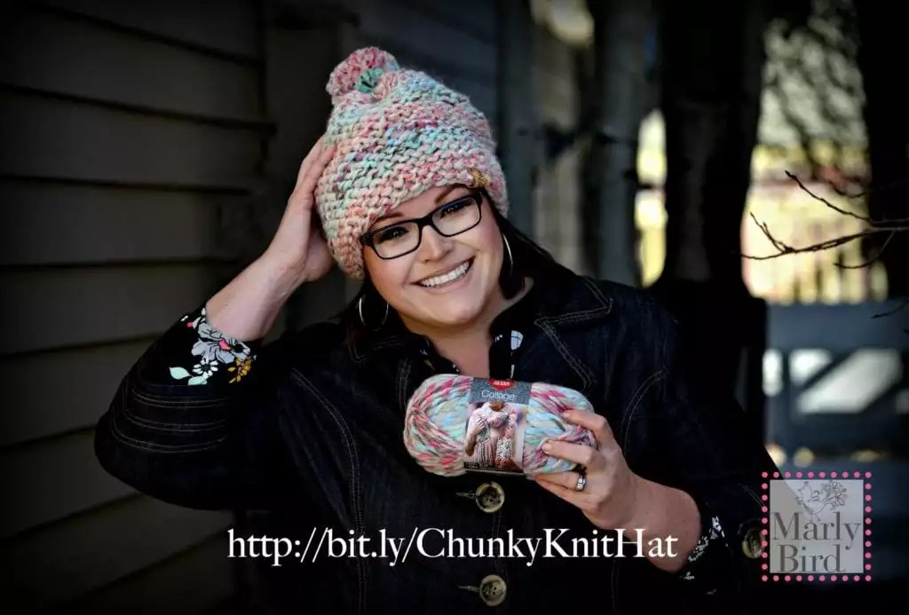 Absolute Beginner Chunky Knit Hat FREE pattern by Marly Bird