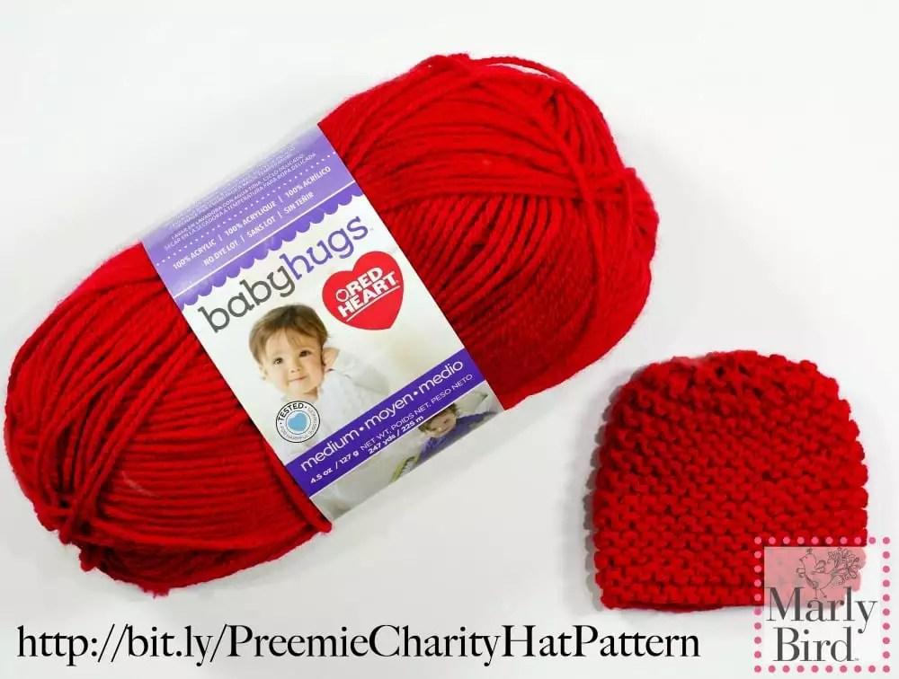 Absolute Beginner Preemie FREE Knit Hat pattern by Marly Bird