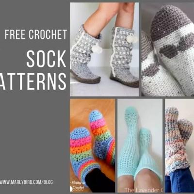 5 FREE Crochet Sock Patterns