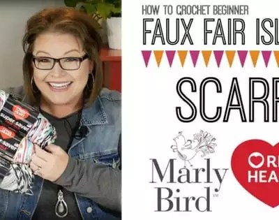 Faux Fair Isle Crochet Scarf-Video Tutorial with Marly Bird