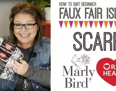 Faux Fair Isle Knit Scarf-Using the NEW Red Heart Fair Isle Yarn
