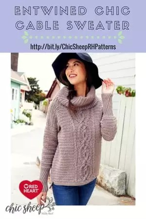 Entwined Chic Cable Sweater Crochet Sweater designed with Chic Sheep by Marly Bird