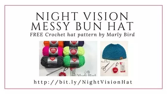 FREE Crochet Messy Bun Hat Pattern by Marly Bird-Night Vision Messy Bun Hat