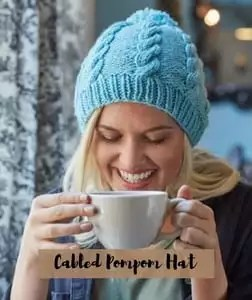FREE Knitting Pattern-Cabled Pompom Hat