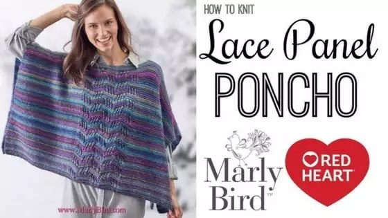 88b659c44 Knit Video Tutorial-Knit Beginner Lace Panel Poncho - Marly Bird™