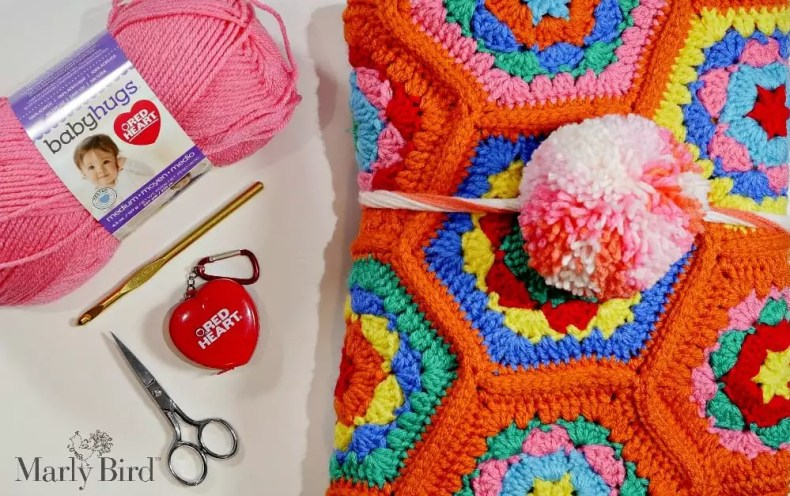 FREE Crochet Baby Blanket Pattern-Hello Baby Hugs Blanket by Marly Bird