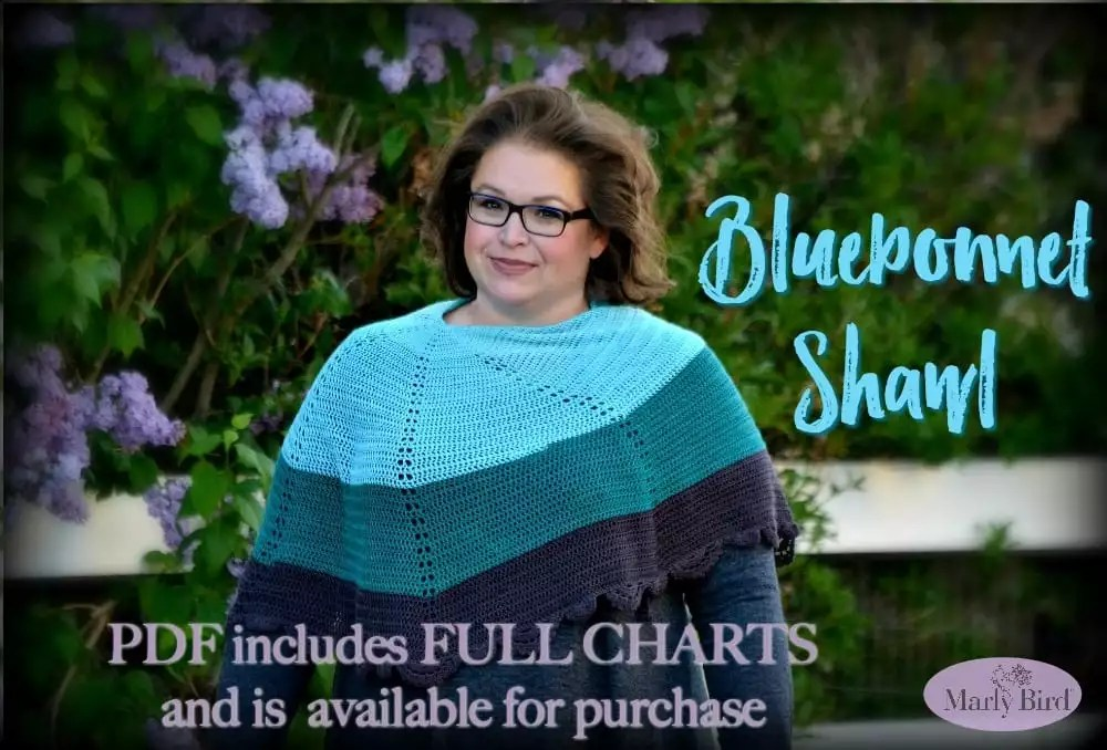 Ad FREE Version of the Bluebonnet Shawl available on Ravelry-includes charts